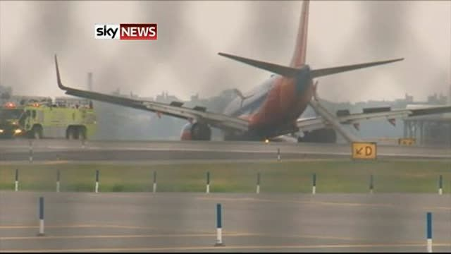 News video: Plane Crash Lands At NY Airport